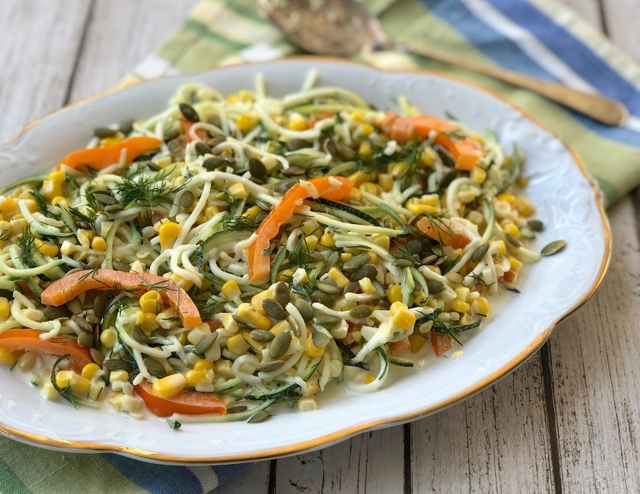 Zucchini noodles with fresh corn