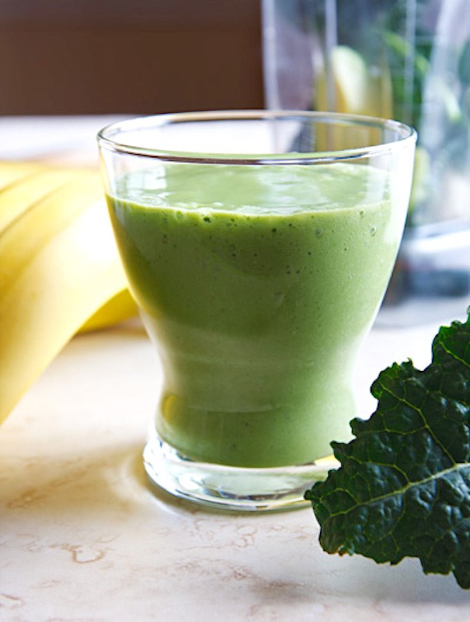 Green smoothie with banana and avocado