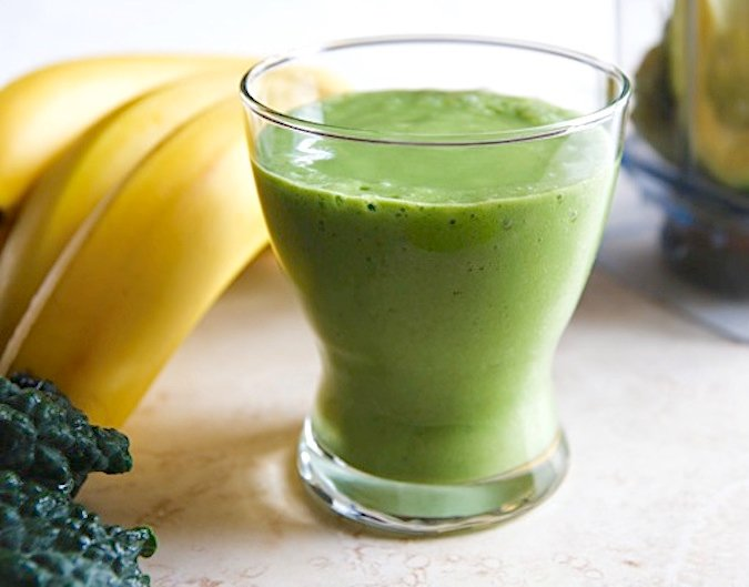 Green smoothie with avocado and banana