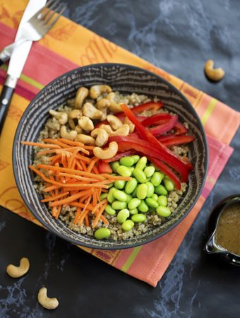 Quinoa and edamame protein bowl