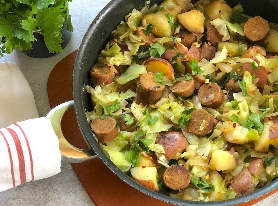 Vegan sausage with cabbage and potato