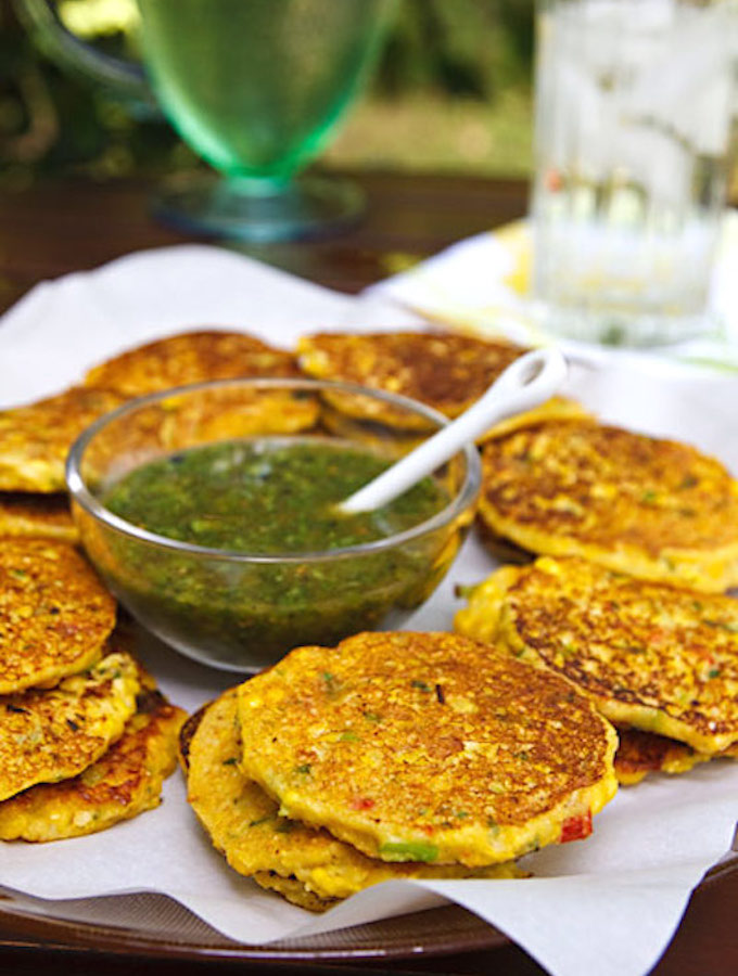 Vegan corn fritters with cilantro tomatillo salsa