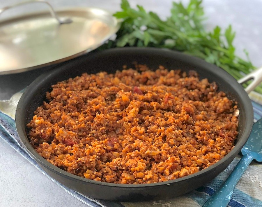 Italian-Style vegan beefy crumbles made with bulgur or quinoa