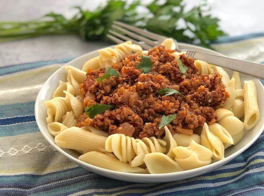 Italian-flavored beef-less crumbles