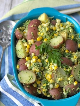 Corn and Potatoes with parsley pesto