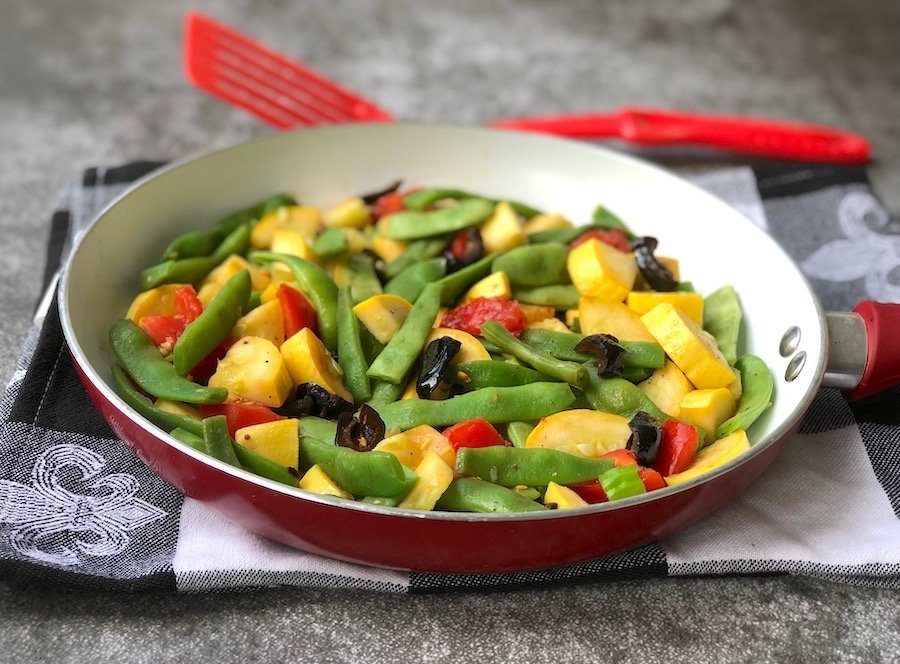 Romano beans with summer squash and olives