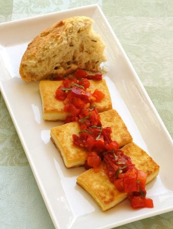 mediterranean tofu with tomatoes and basil