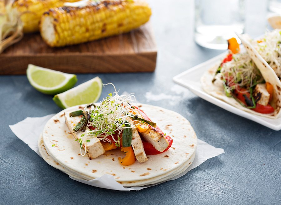 Lime-marinated tofu soft tacos