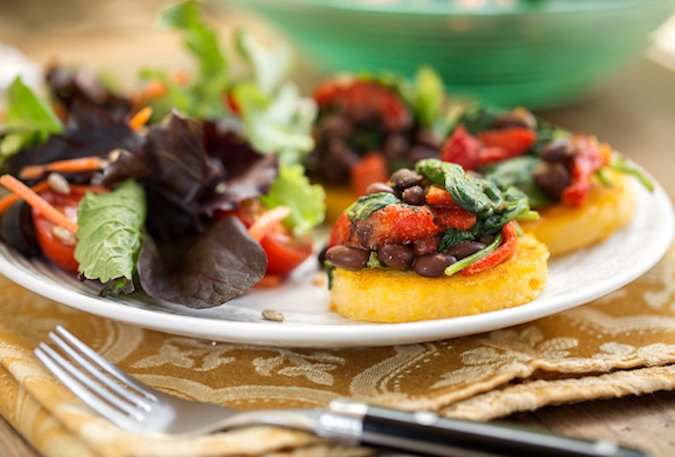 Pan-grilled Polenta with black beans and spinach
