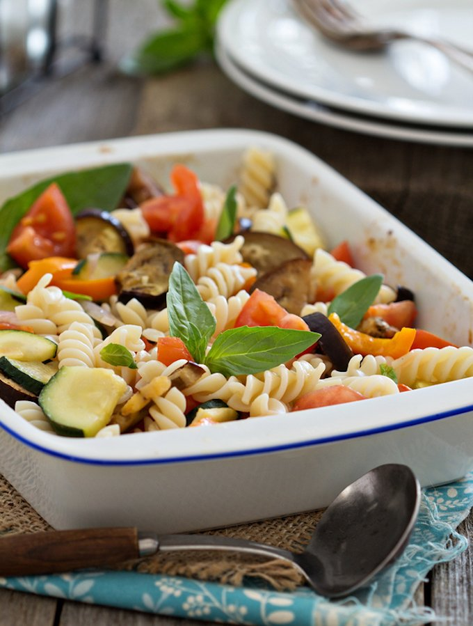 Balsamic roasted ratatouille with pasta