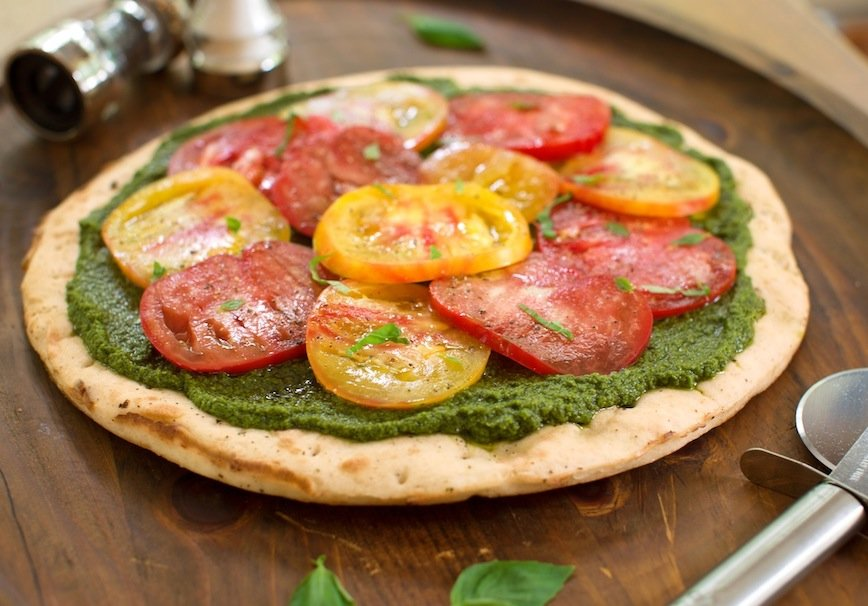 Vegan Pesto Pizza with Heirloom Tomatoes