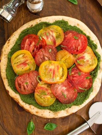 Vegan Pesto Pizza with fresh tomatoes