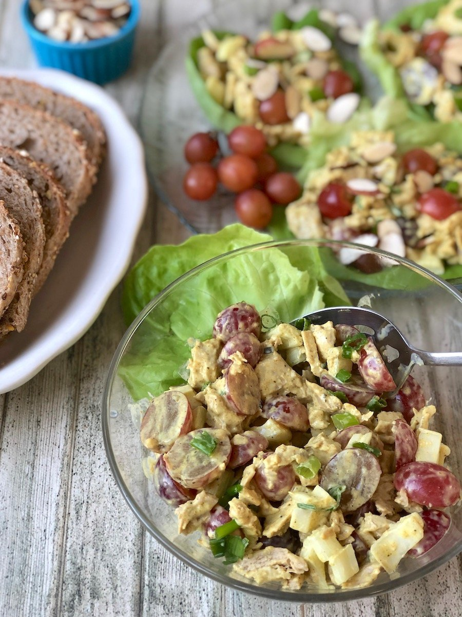 Vegan curried chicken salad with almonds and grapes