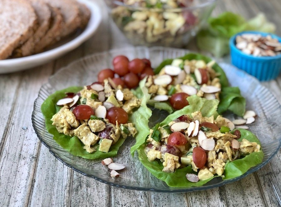 Vegan curried chicken salad with grapes and almonds