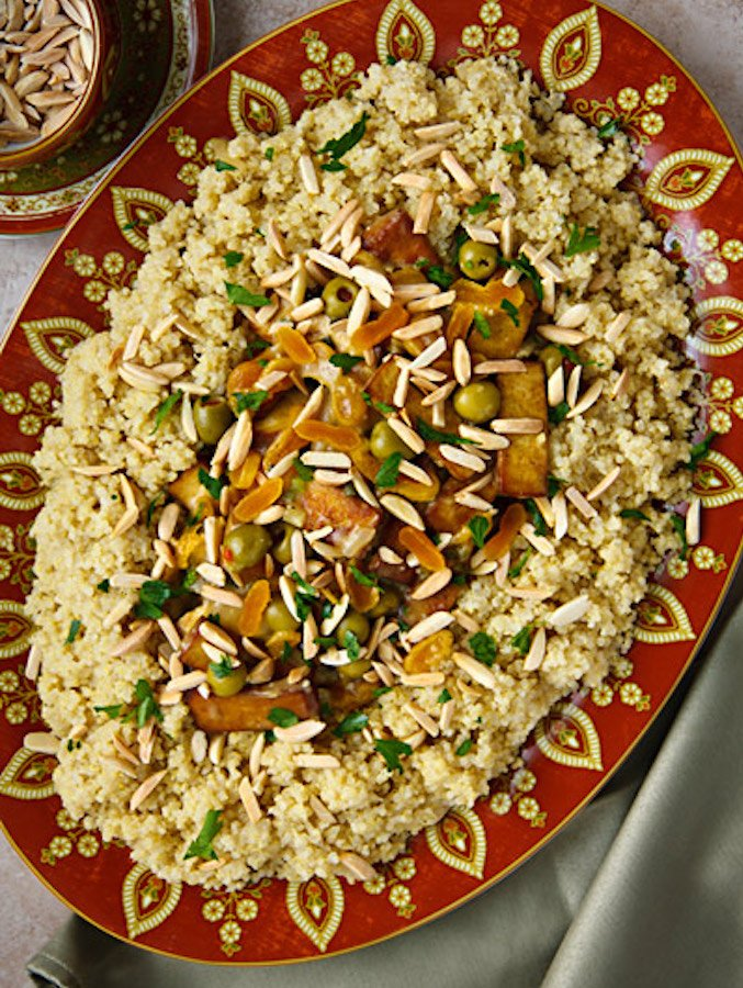 Moroccan-Inspired Tofu with Apricots, Almonds, & Olives