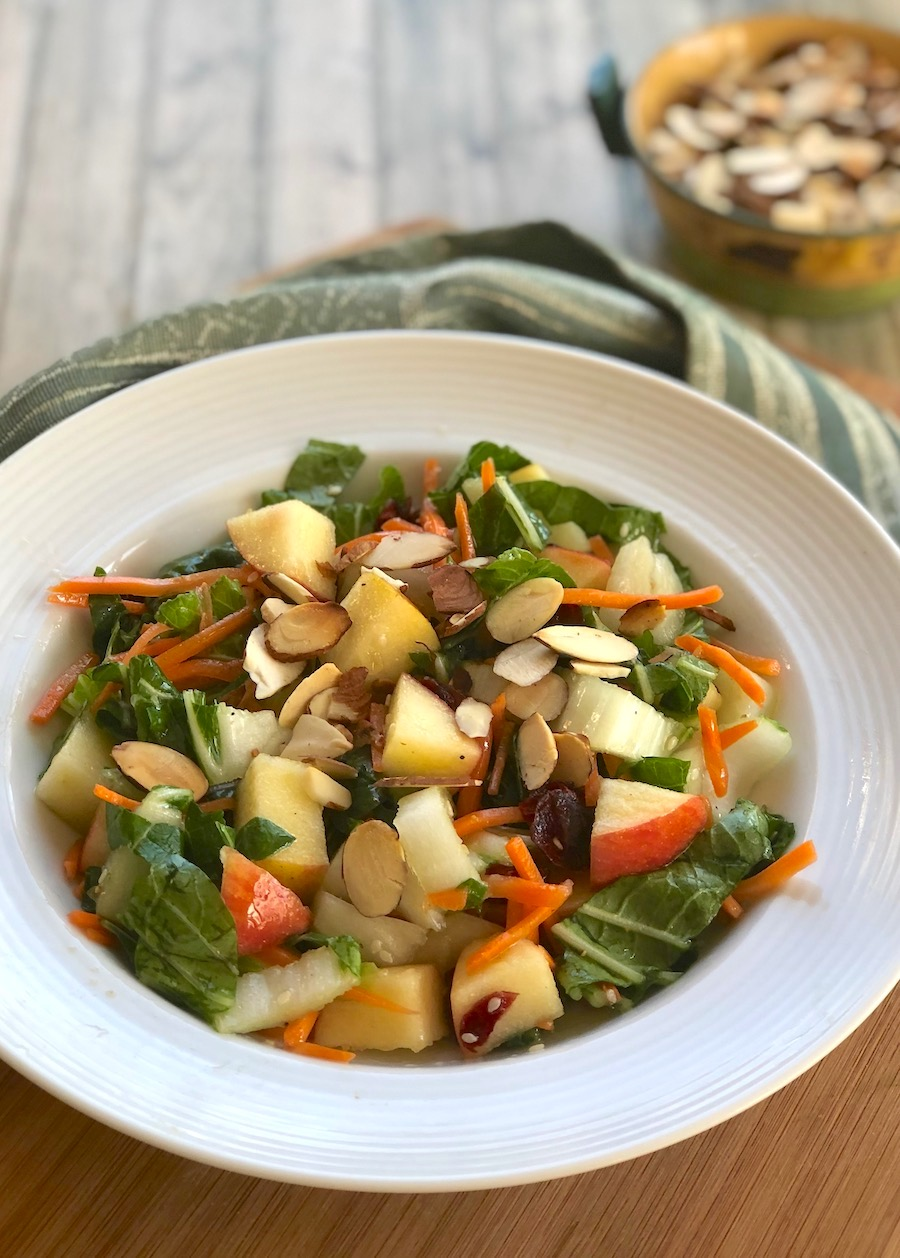 Bok choy salad with apple, carrot, and almonds