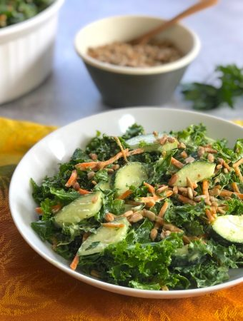 Kale and Cucumber salad with avocado tahini dressing