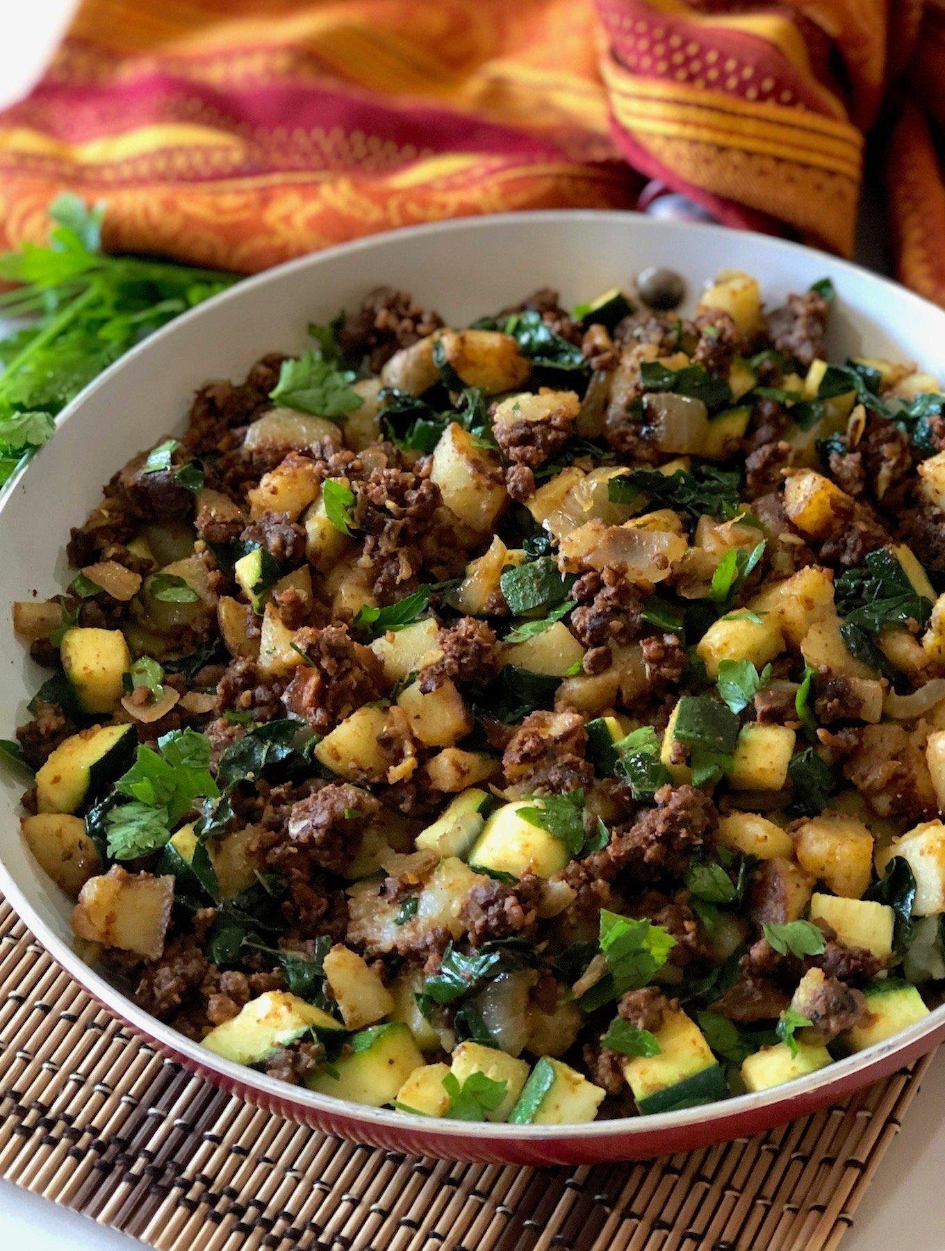 Vegan Tempeh hash with potatoes and zucchini