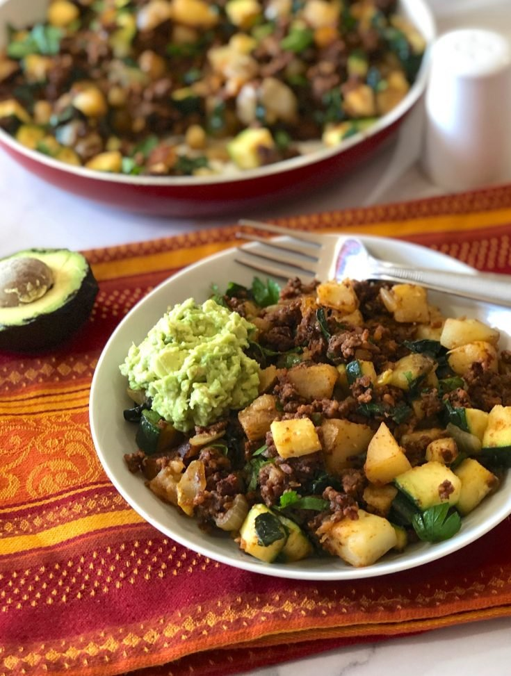 Skillet Tempeh Hash with Potatoes and Zucchini