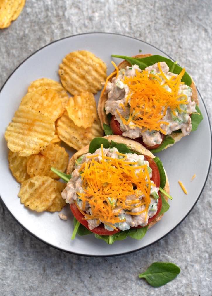 Vegan Open-Face Tofuna Melt sandwich