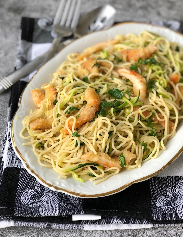 Vegan shrimp scampi made with plant-based shrimp