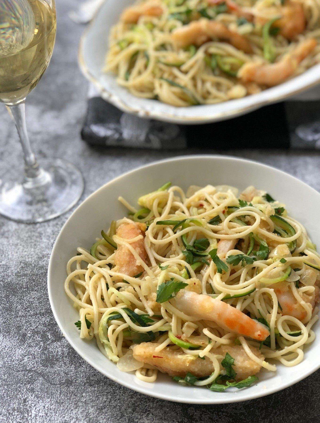 Vegan shrimp scampi made with Sophie's Kitchen plant-based shrimp