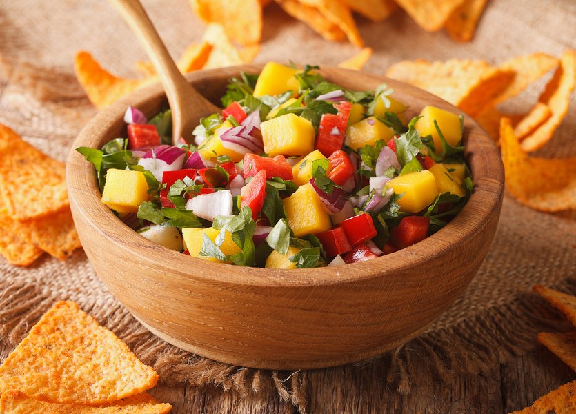 Classic Mango Salsa served with tortilla chips