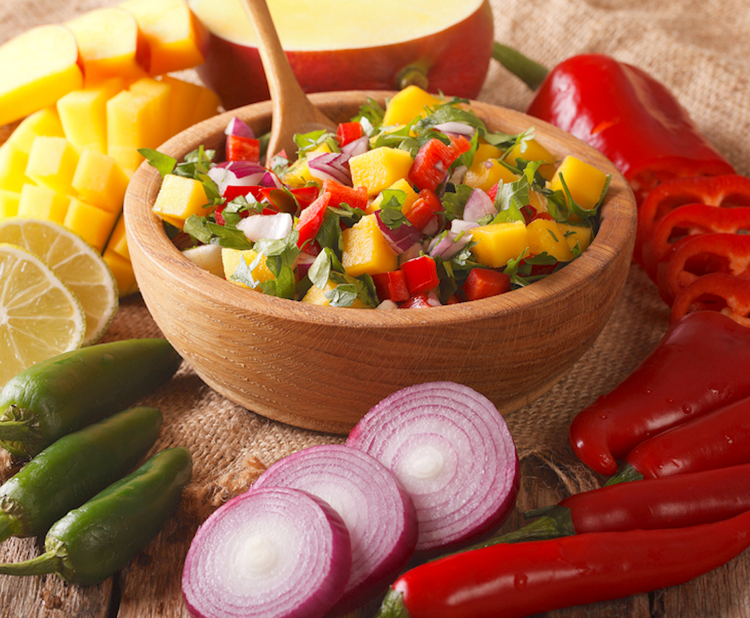 Classic Mango Salsa with peppers and onions