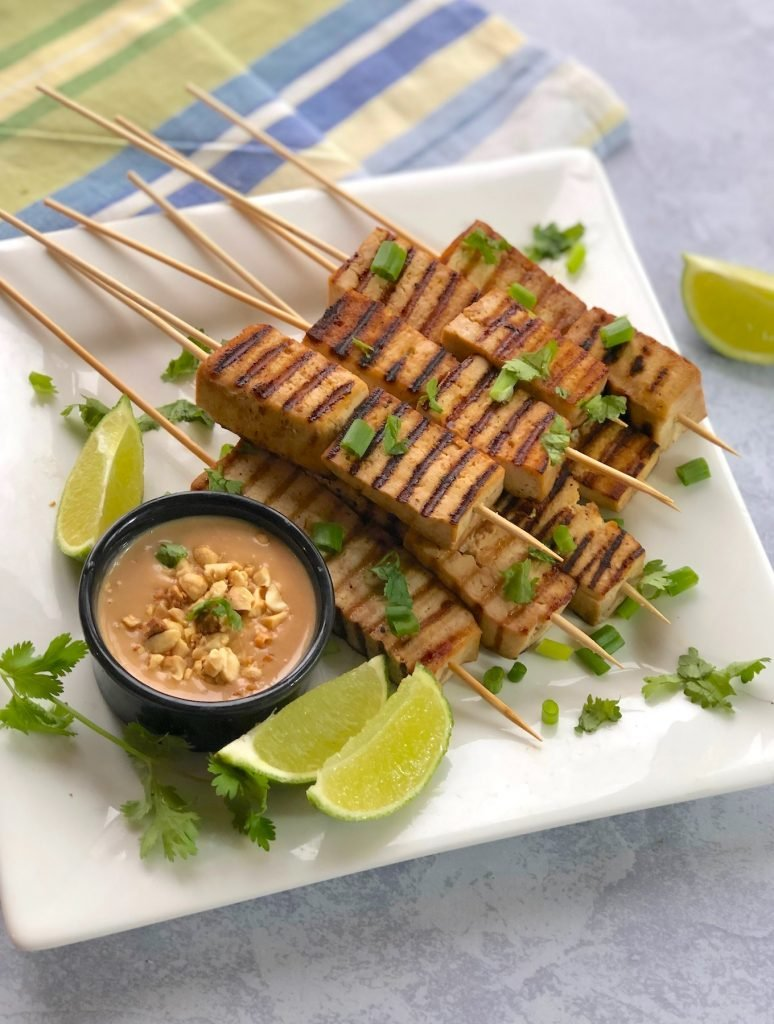 Peanut Satay Skewers made with tofu