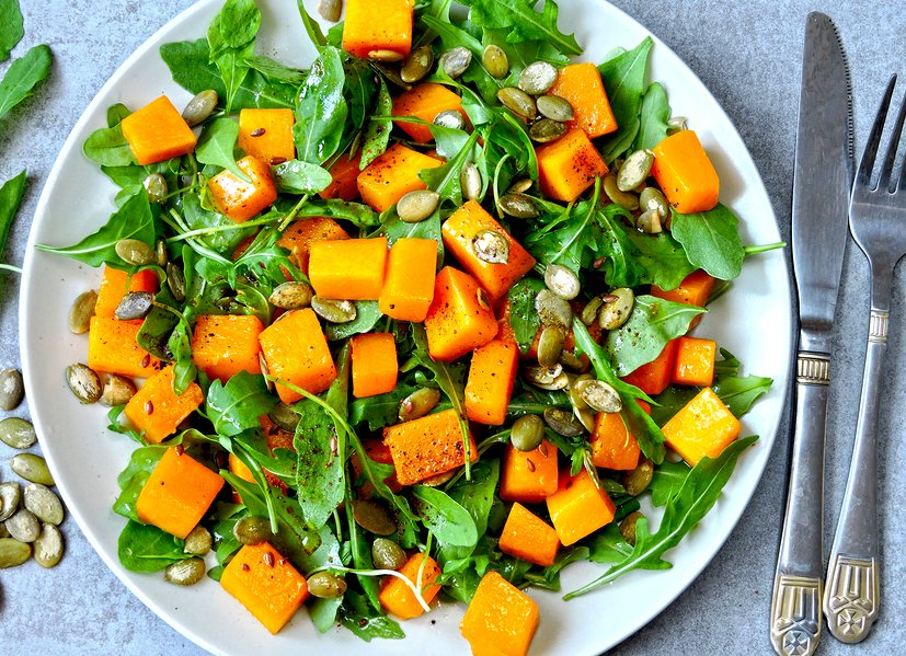 Roasted Butternut Salad with Arugula and Pumpkin Seeds