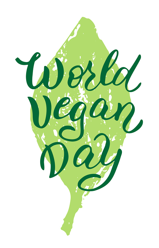 World Vegan Day Phrase On Green Leaf. Vegan Day Lettering T-shirt Print. Modern Poster, Sticker, Ban