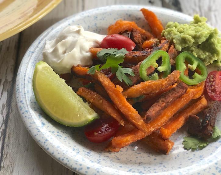 vegan carne asade fries made with sweet potato fries