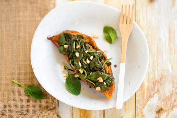 Spinach & peanut sauce stuffed sweet potato