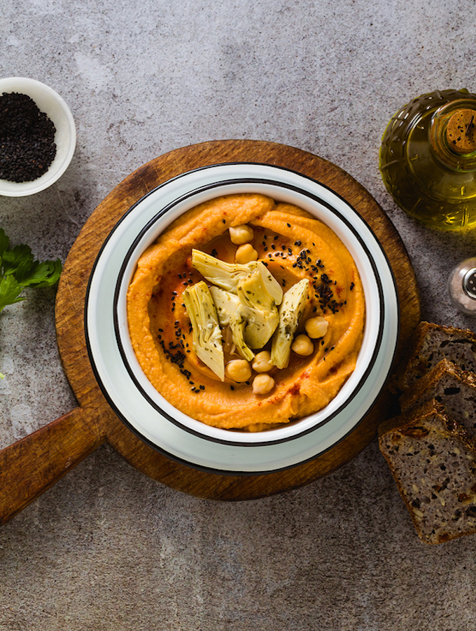 Sweet potato hummus with artichokes