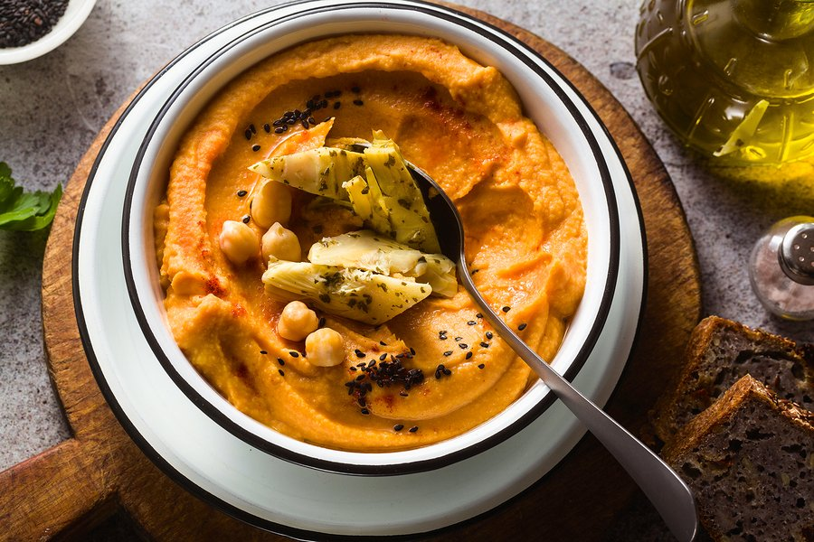 Sweet potato hummus with artichoke hearts