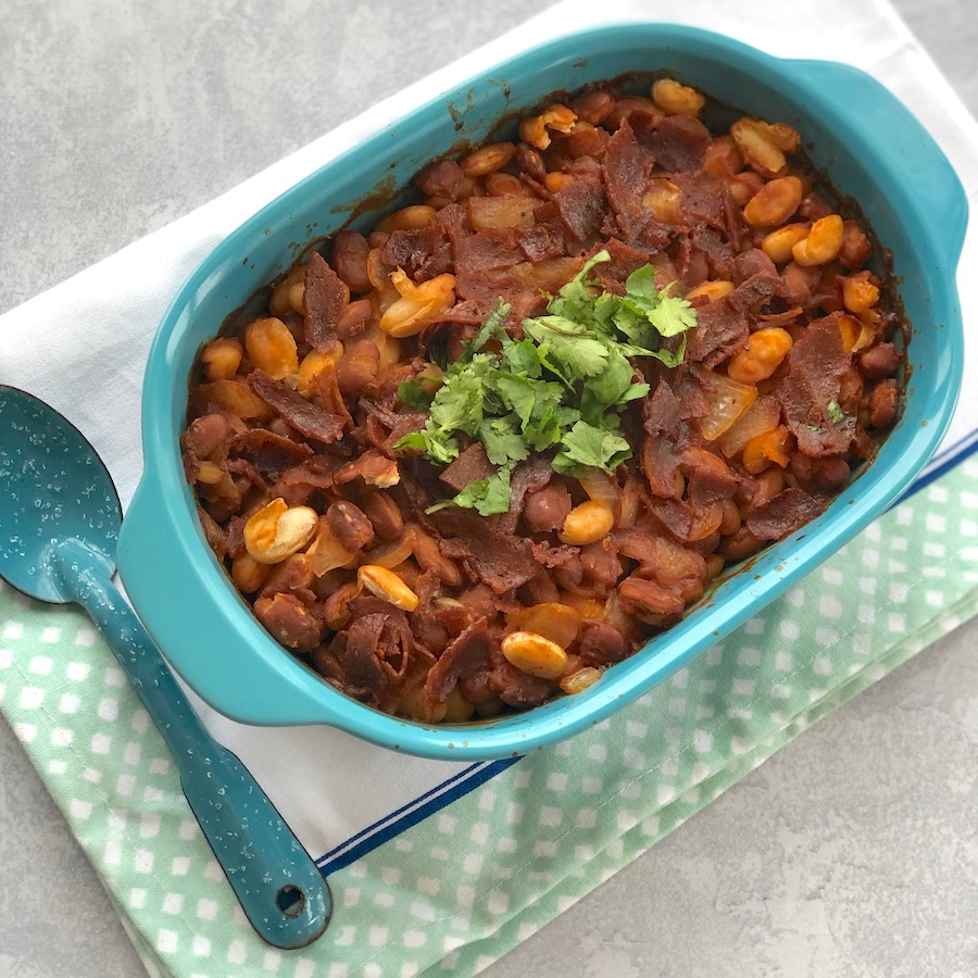 Vegan Baked Beans (with vegan bacon)