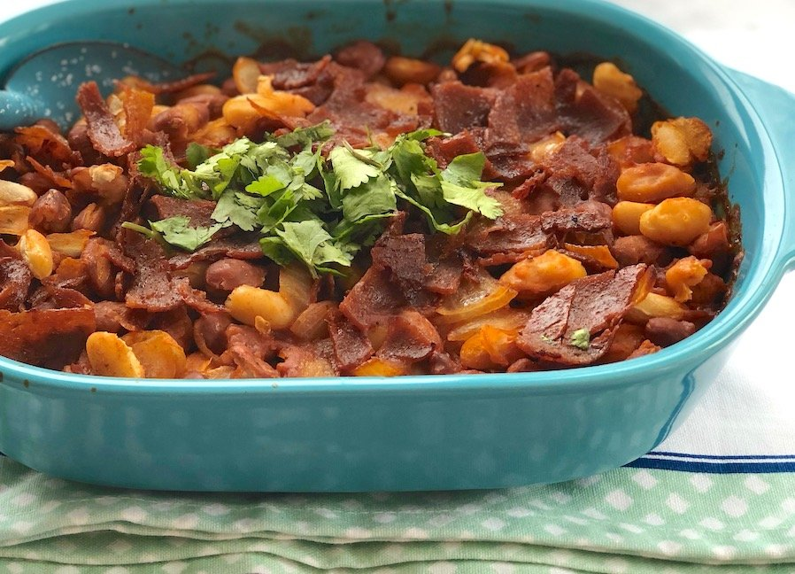 Vegan bacon baked beans