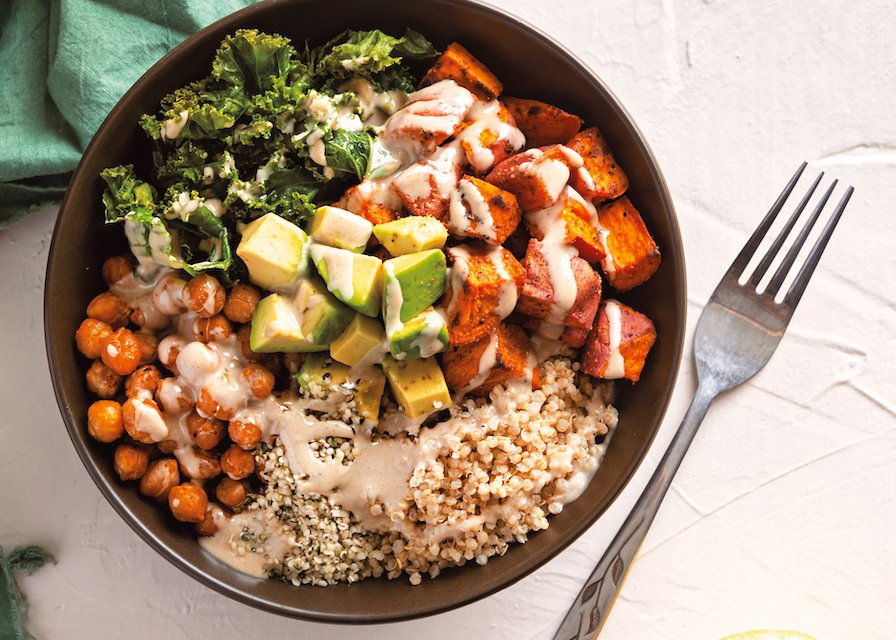 Classic Vegan Buddha Bowl with chickpeas, avocado, sweet potato, and kale