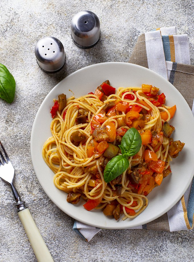 Pasta with Roasted Eggplant and Bell Peppers