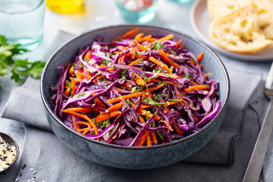 Red cabbage and carrot slaw with Sesame-ginger dressing