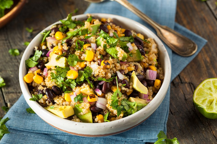 Southwestern Quinoa Salad with corn, black beans, and avocado