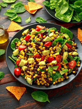 Black bean and corn salad with avocado and tomatoes