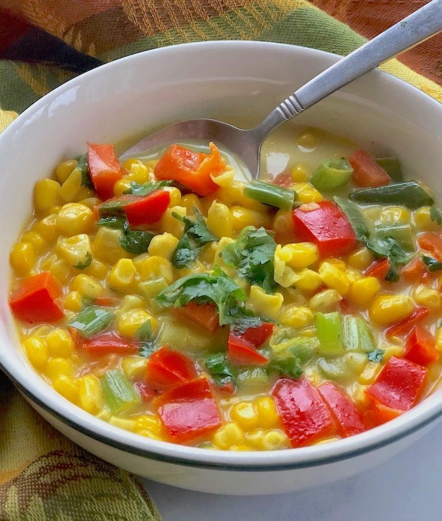 Vegan Thai Curried Coconut corn soup