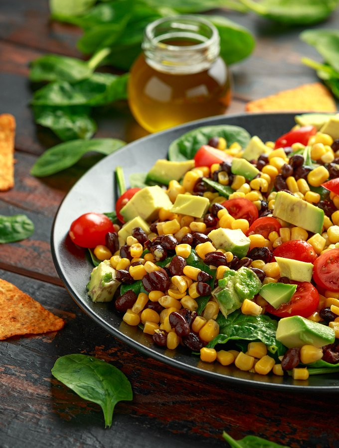 corn and black bean salad with tomatoes and avocado