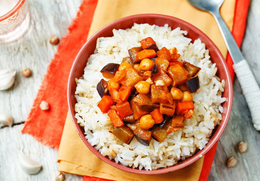 Eggplant and chickpea curry with rice