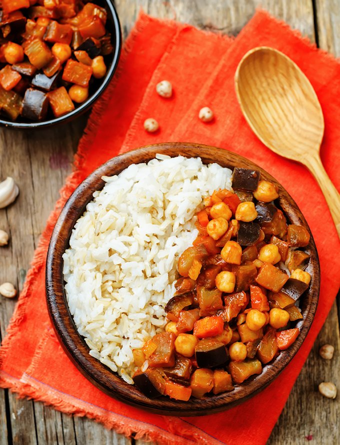 Eggplant and tomato chickpea curry with rice.