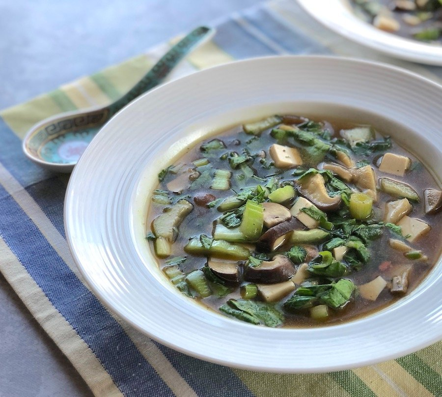 Miso soup with mixed mushrooms