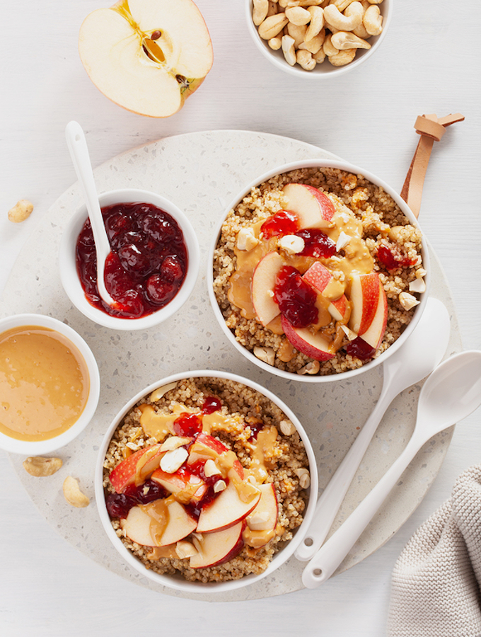 Peanut Butter and Jam Whole Grain Breakfast Bowls