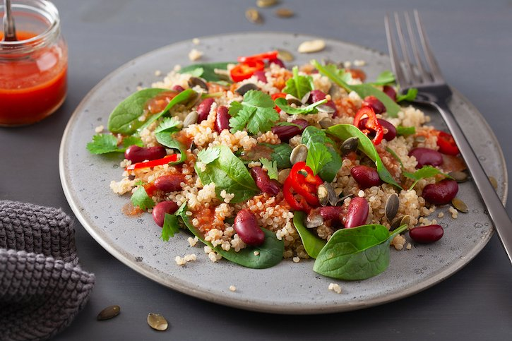 Red bean and quinoa salad with mini peppers