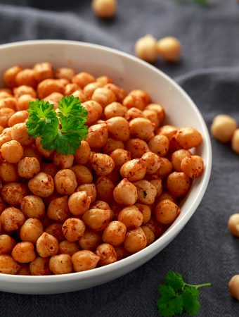 Roasted Spicy Chickpeas In White Bowl. Healthy Food